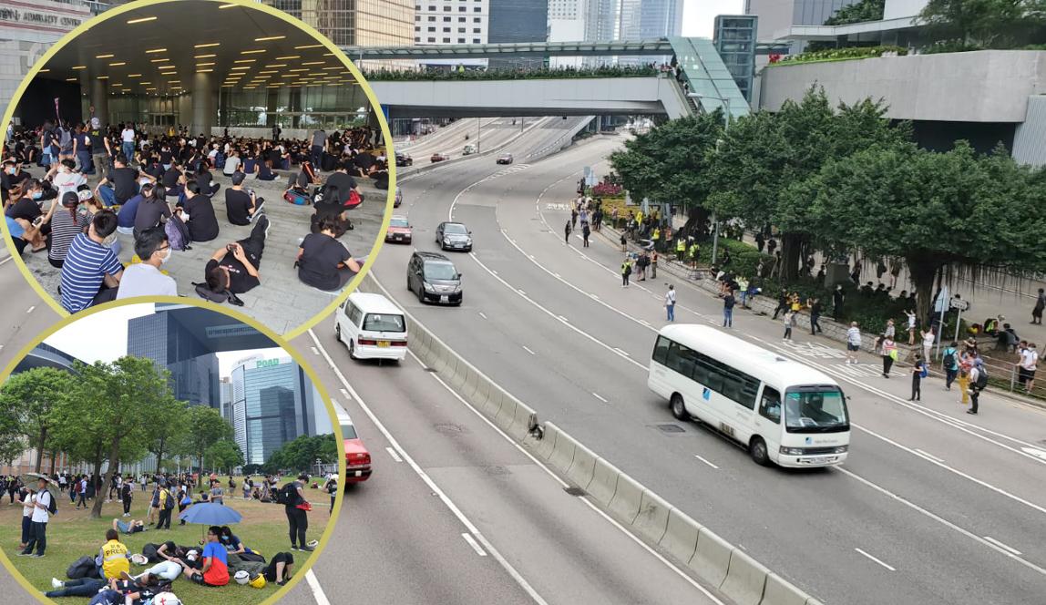 夏慤道示威者前往立法會示威區及添馬公園。