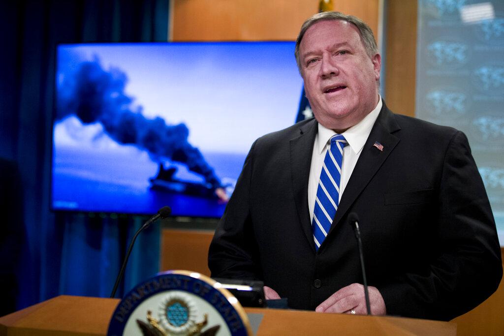 蓬佩奧表明,美國「正考慮全方位的選項」,包括軍事方案,應對波斯灣的緊張局勢。 AP圖片