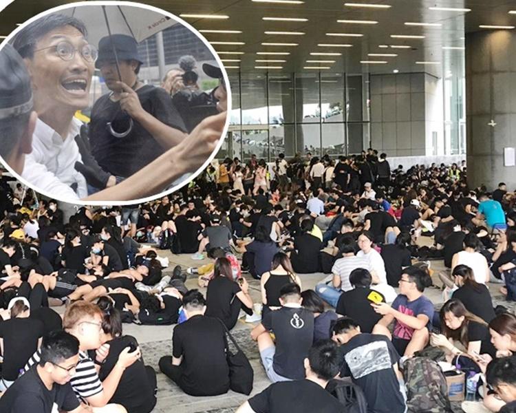 朱凱迪(小圖)在立法會示威區表示,他認為林鄭月娥不應只與議員開會,更應與市民對話。