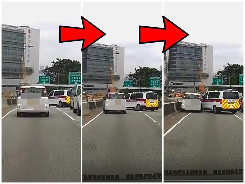 警車切線時與私家車有約一個車位距離,私家車有收掣仍相撞。Mark Wong 「馬路的事討論區」facebook群組
