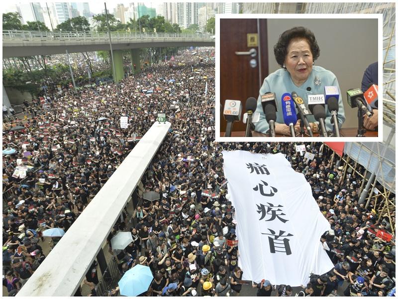 陳方安生(小圖)呼籲示威者登記做選民。資料圖片