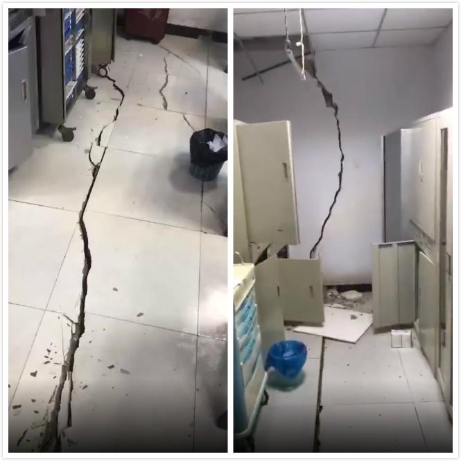 四川有建築物牆壁裂開,地板出現裂紋。網上圖片