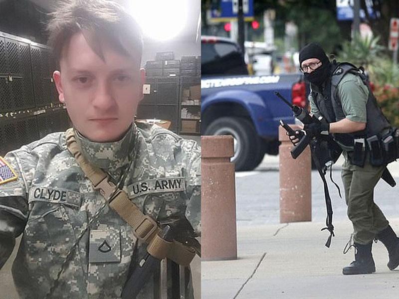 22歲的退役美軍在達拉斯市法院門外開槍,被執法人員擊斃。AP及網圖