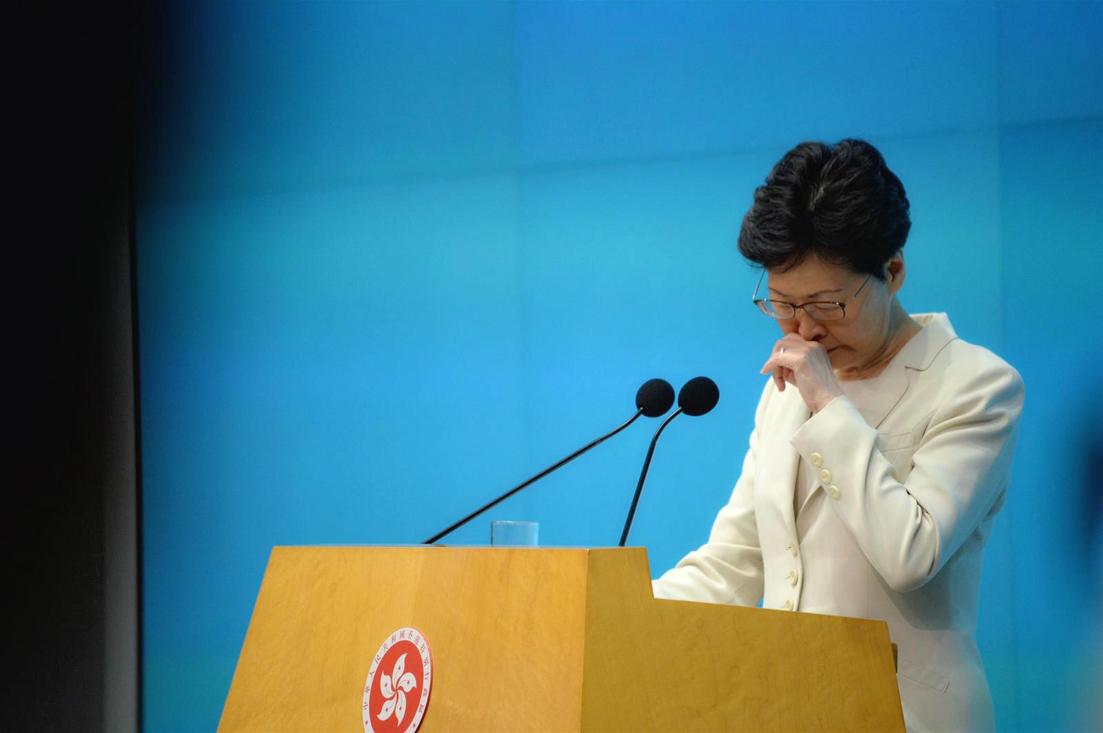 有示威者不滿行政長官林鄭月娥無回應訴求。
