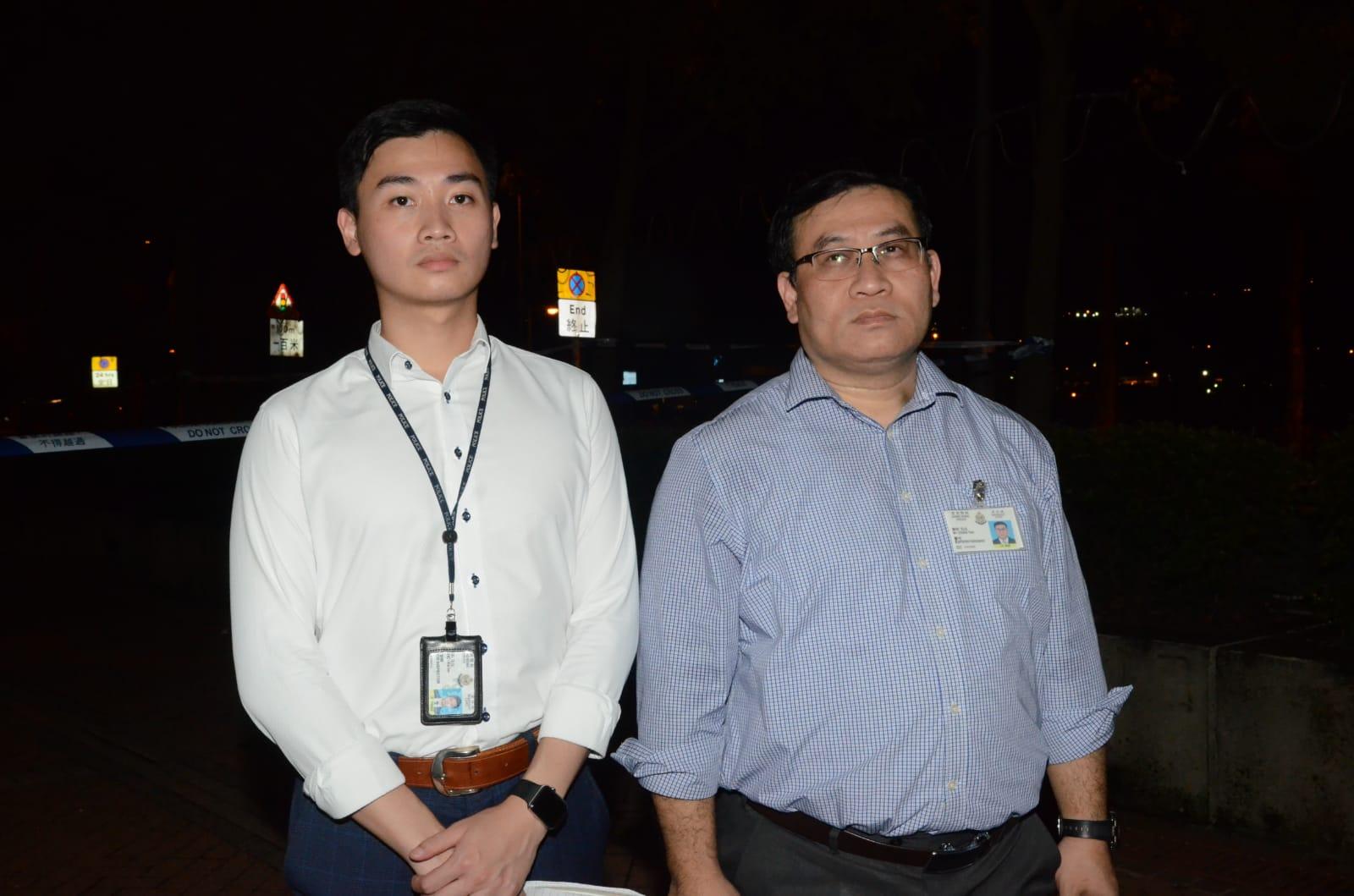 沙田警區助理指揮官(刑事)陳昕警司(右)。