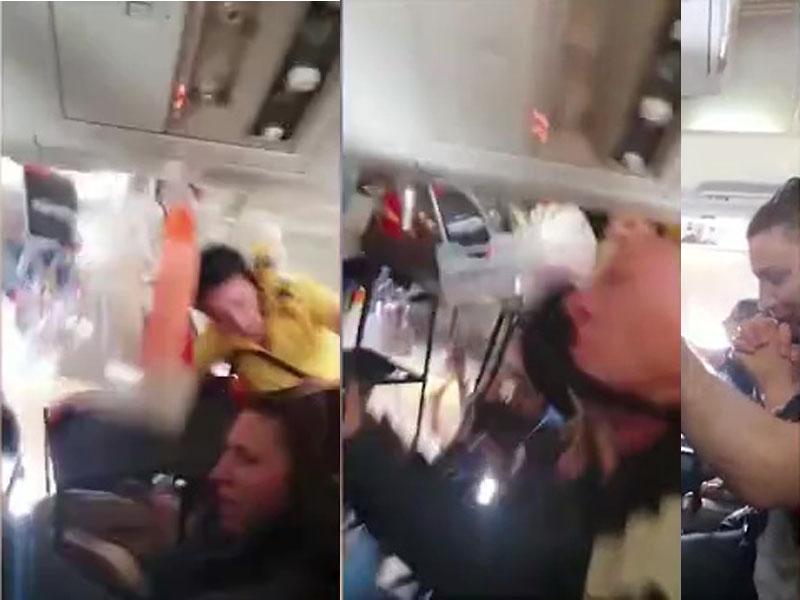 一名空姐和餐飲車一起被拋上天花板,一名濕透的乘客馬上祈禱。(網圖)