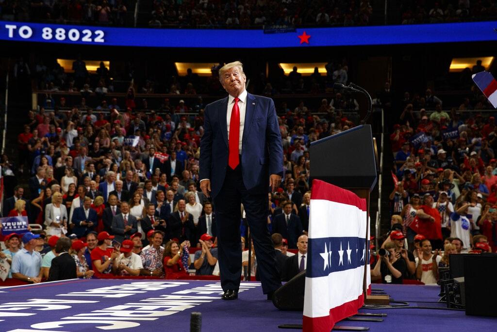 特朗普出席誓师大会。