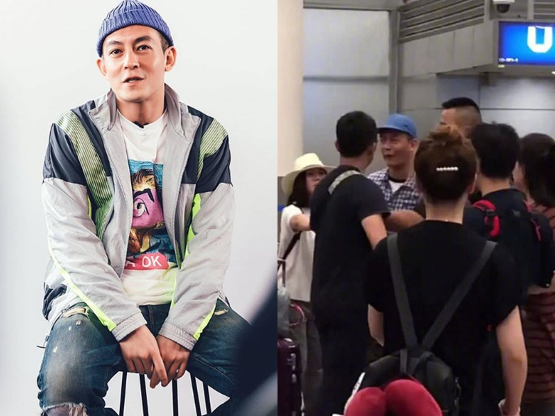 陳冠希被拍得在機場與男主播發生爭執。微博圖片