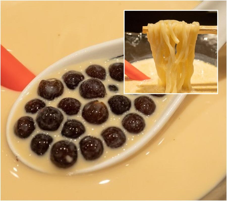 日本麵店推出珍珠奶茶沾麵。网上图片
