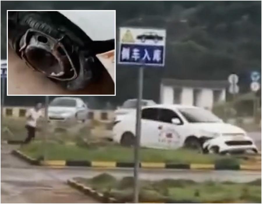 學員踩錯油門導致私家車不斷打轉。網上圖片