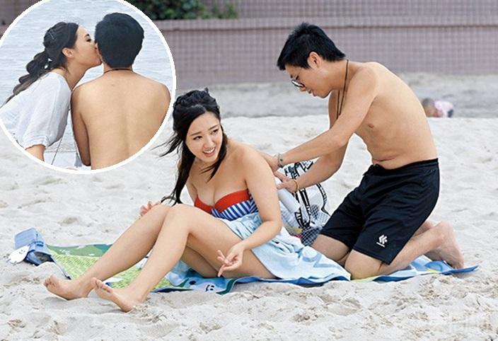 為補償男友,林秀怡工作完畢後,就立即拖住Kevin到石澳,煙韌玩日光浴。東周刊圖片