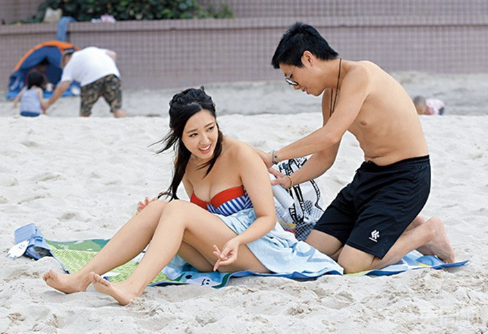 林秀怡出席活動同男友去石澳沙灘。東周刊圖片
