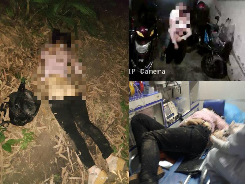 桑菊被發現時衣衫不整,財物盡失(左)。鏡頭拍下桑菊被一名男子拖走(右上)。(網圖)