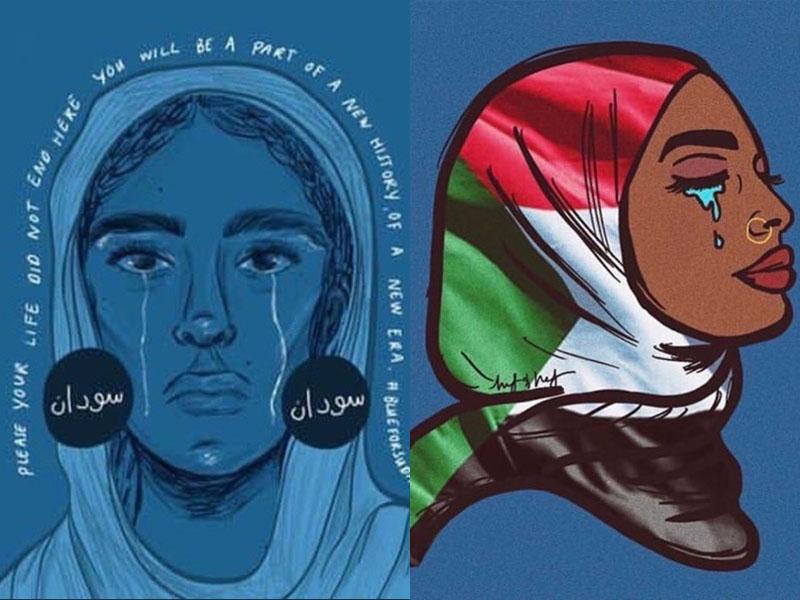民眾紛紛將頭像換成藍色,聲援蘇丹受暴群眾。(網圖)
