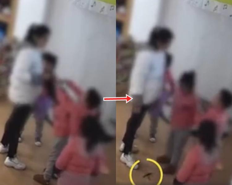 涉事老師捉住其女兒的頭髮,並讓該名男童剪去一小撮。網圖