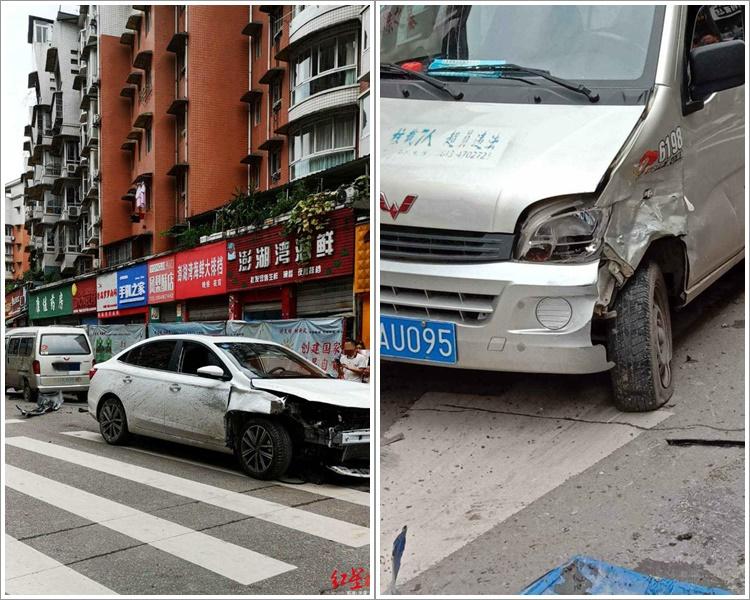 私家车撞向麵包车后才止住冲势。网图