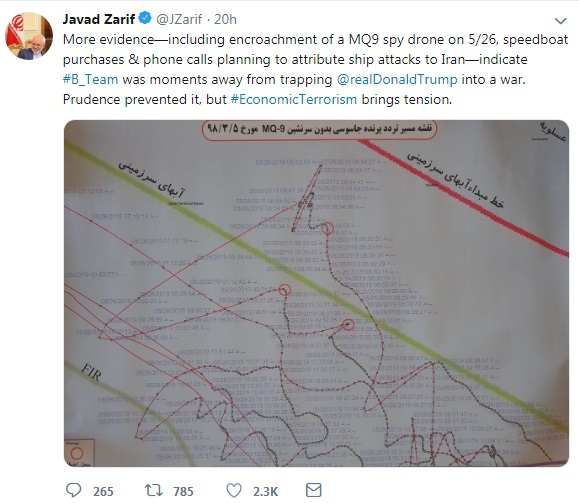 扎里夫在Twitter發布一張位置圖,顯示一架MQ9死神無人機上月26日曾入侵伊朗領空。  Twitter 圖片