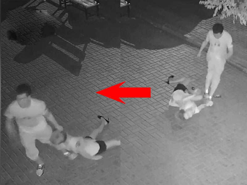 一段閉路電視畫面在網絡上流傳,片中少女遭男子暴毆後,被拉着頭髮拖走。(網圖)