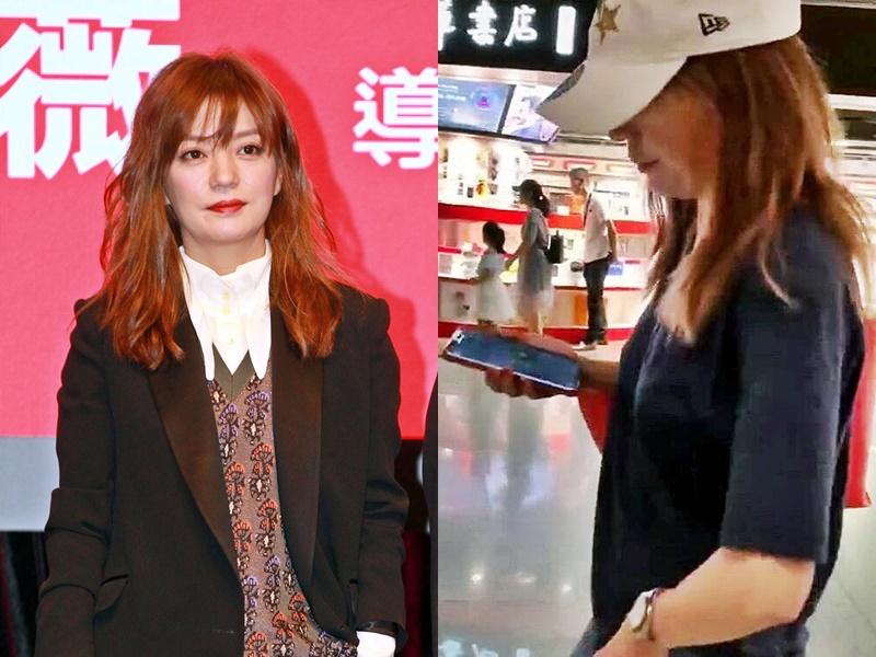 有網民在機場發現趙薇(右圖),但她表現冷淡,並隨即戴上口罩。