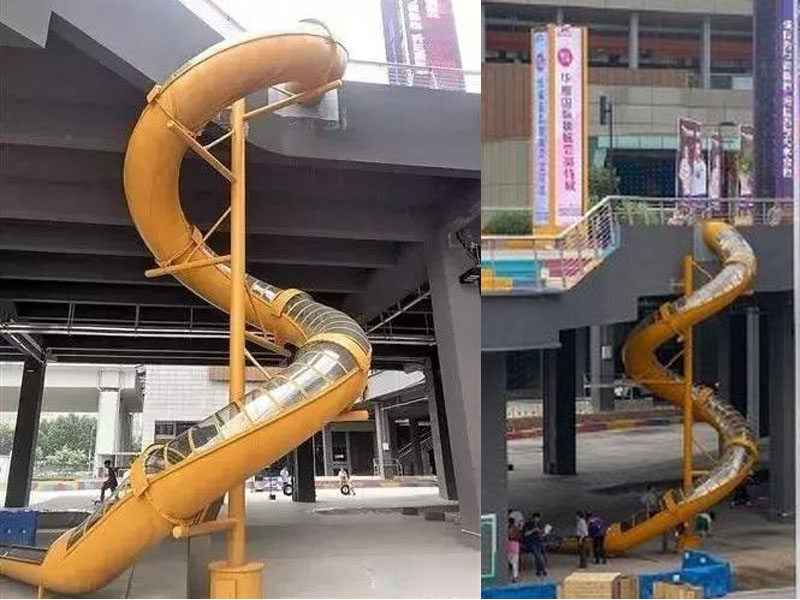據了解,該滑梯並非輕鐵站出站通道,而是由相鄰商場設立,意在吸引年輕客人。(網圖)