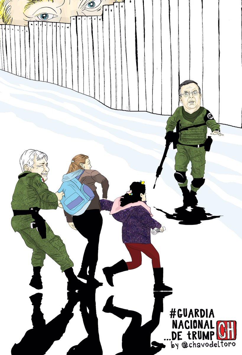 有漫畫家諷刺墨西哥總統洛佩斯(左)和外長埃布拉爾(右)是特朗普(後)的國民警衛軍。Twitter