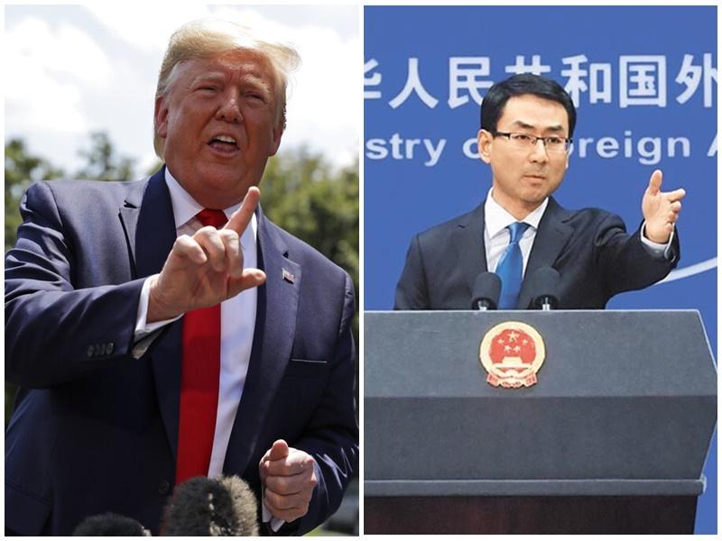特朗普(左)威脅加徵關稅,耿爽(右)稱嚇不倒中國人。AP/新華社