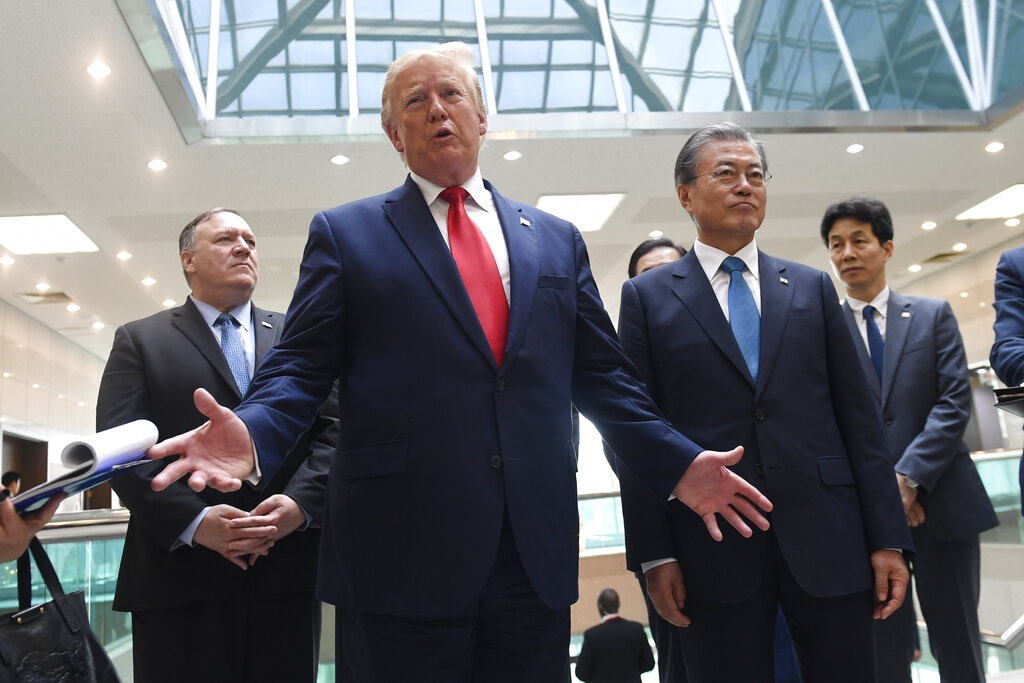 特朗普指美朝同意重展無核化談判。AP