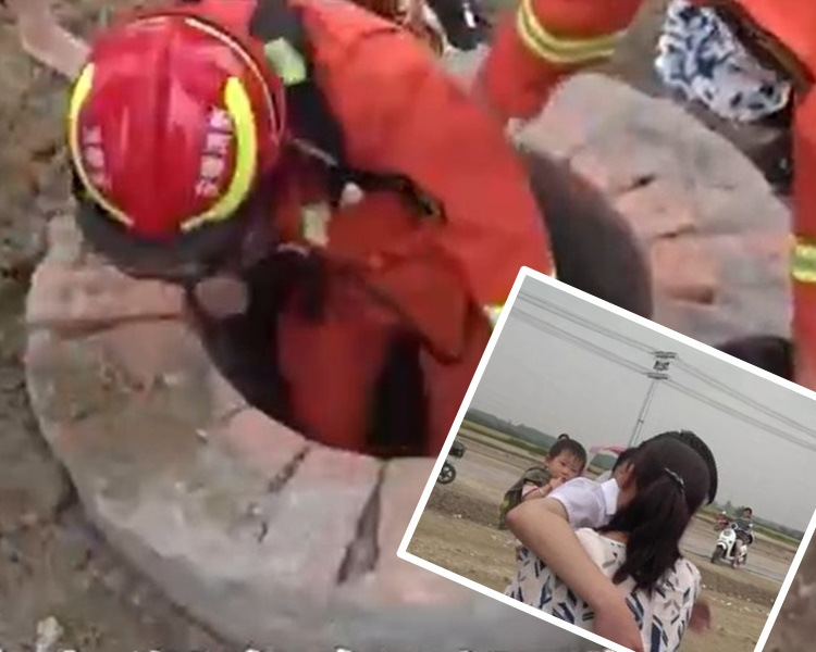 少年被救出母親即趨前緊抱大哭。網圖