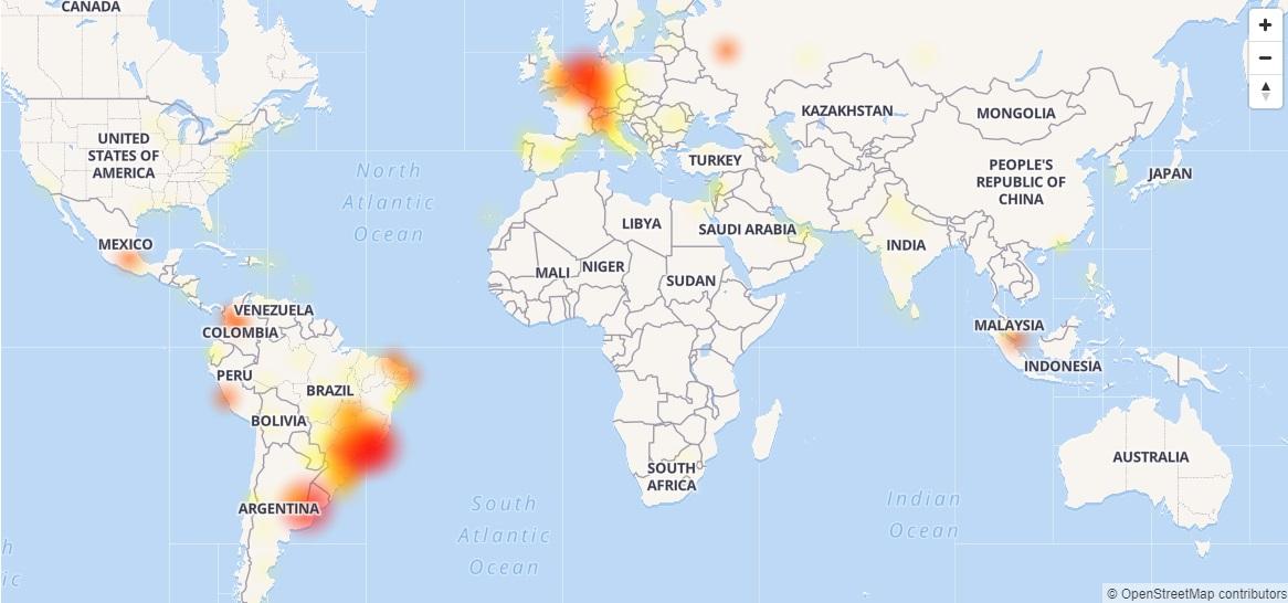 Whatsapp在多個地區出現故障。網上圖片