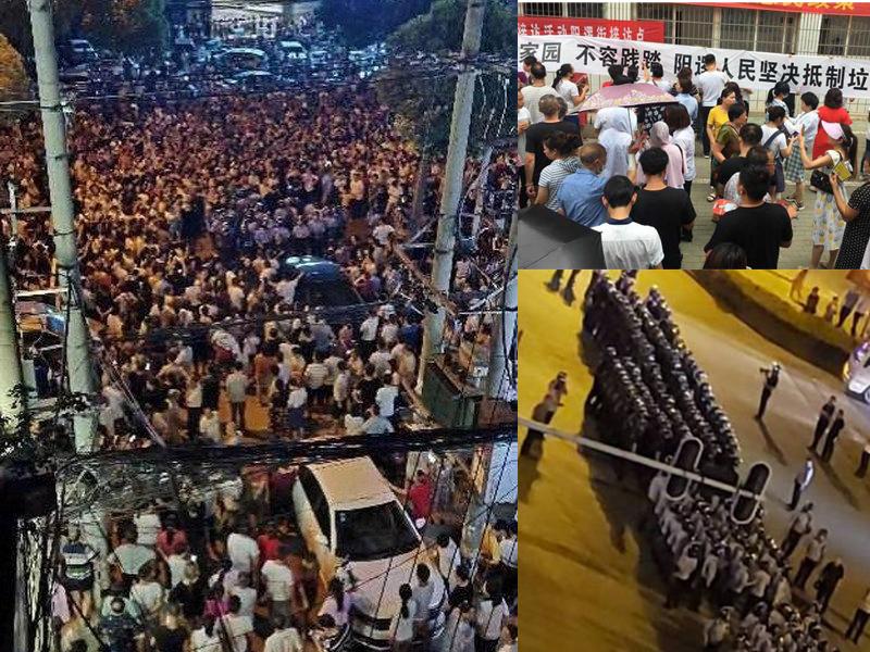 抗議民眾逼滿街頭,防暴警察刑場戒備。(網圖)