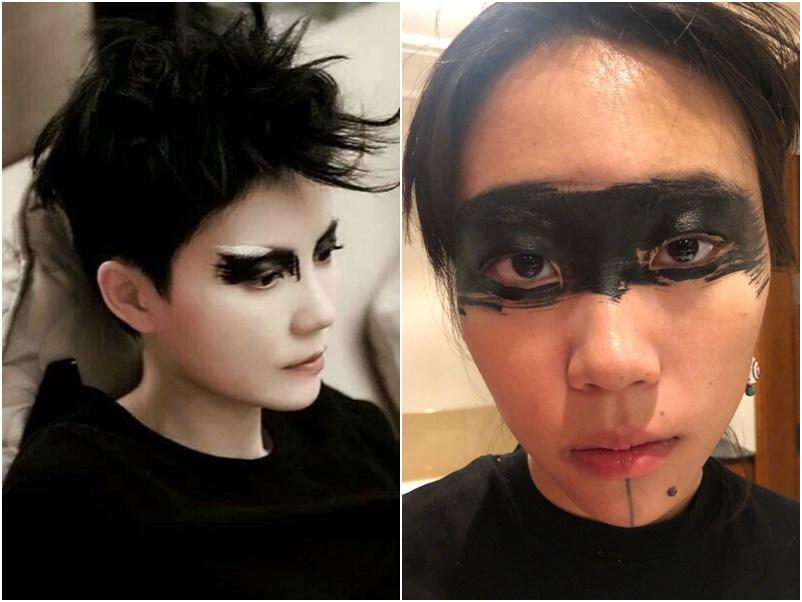 竇靖童還原媽咪王菲(左)經典黑眼妝。網圖