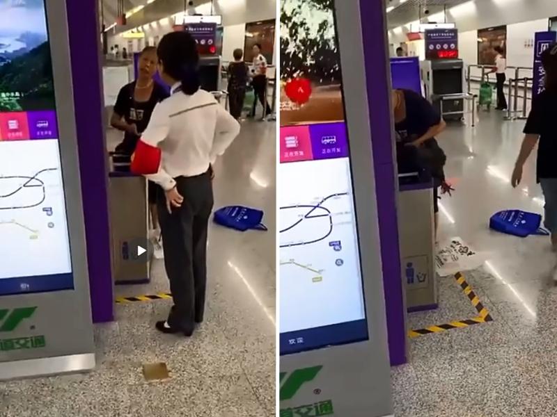 重慶一名大媽帶一隻「活雞」坐地鐵,被安檢員攔截,隨即當場殺雞。 影片截圖