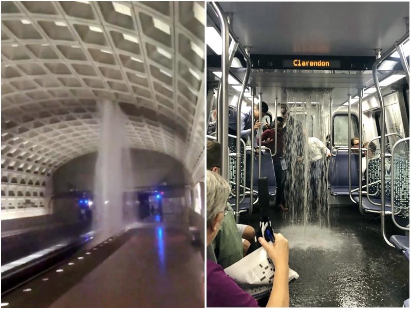 地鐵車廂也有雨水湧入。