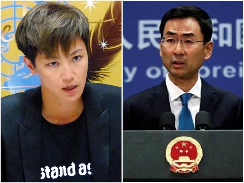 耿爽(右)批評何韻詩言論違反一個中國原則。AP圖片/網上圖片