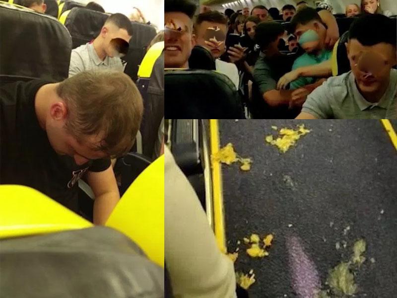 机上至少有70名乘客失控,大喊大叫,还有人醉酒呕吐。(网图)