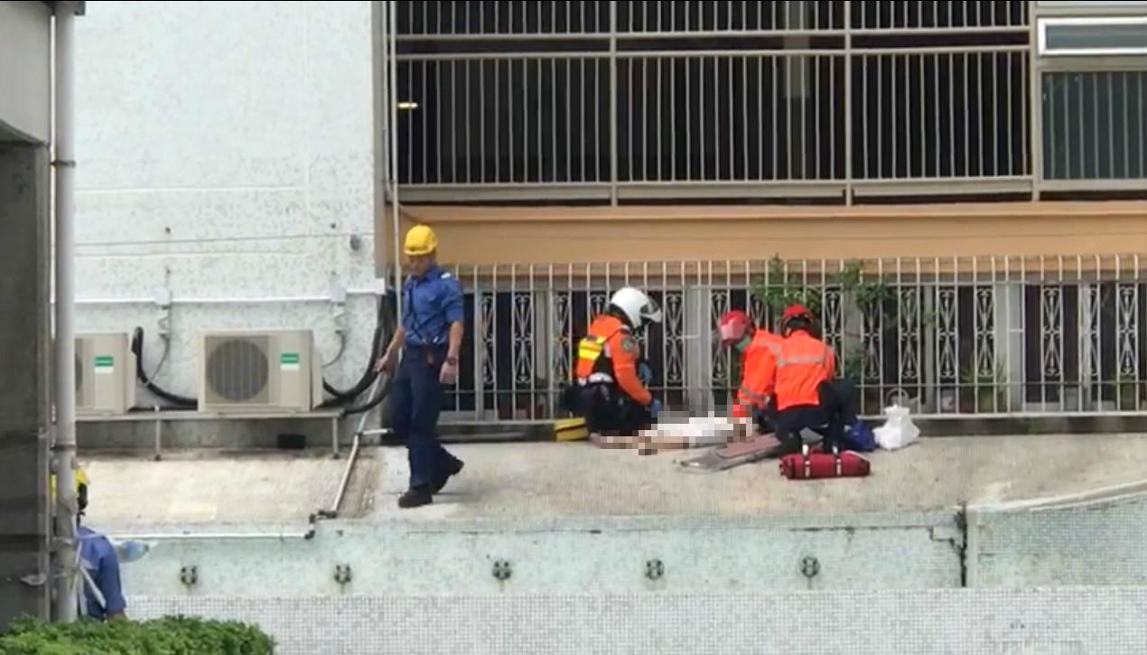男子昏迷倒臥平台。 facebook大埔覽過影片截圖