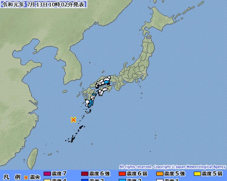 沖绳县以北发生6.1级地震。图:日本气象厅