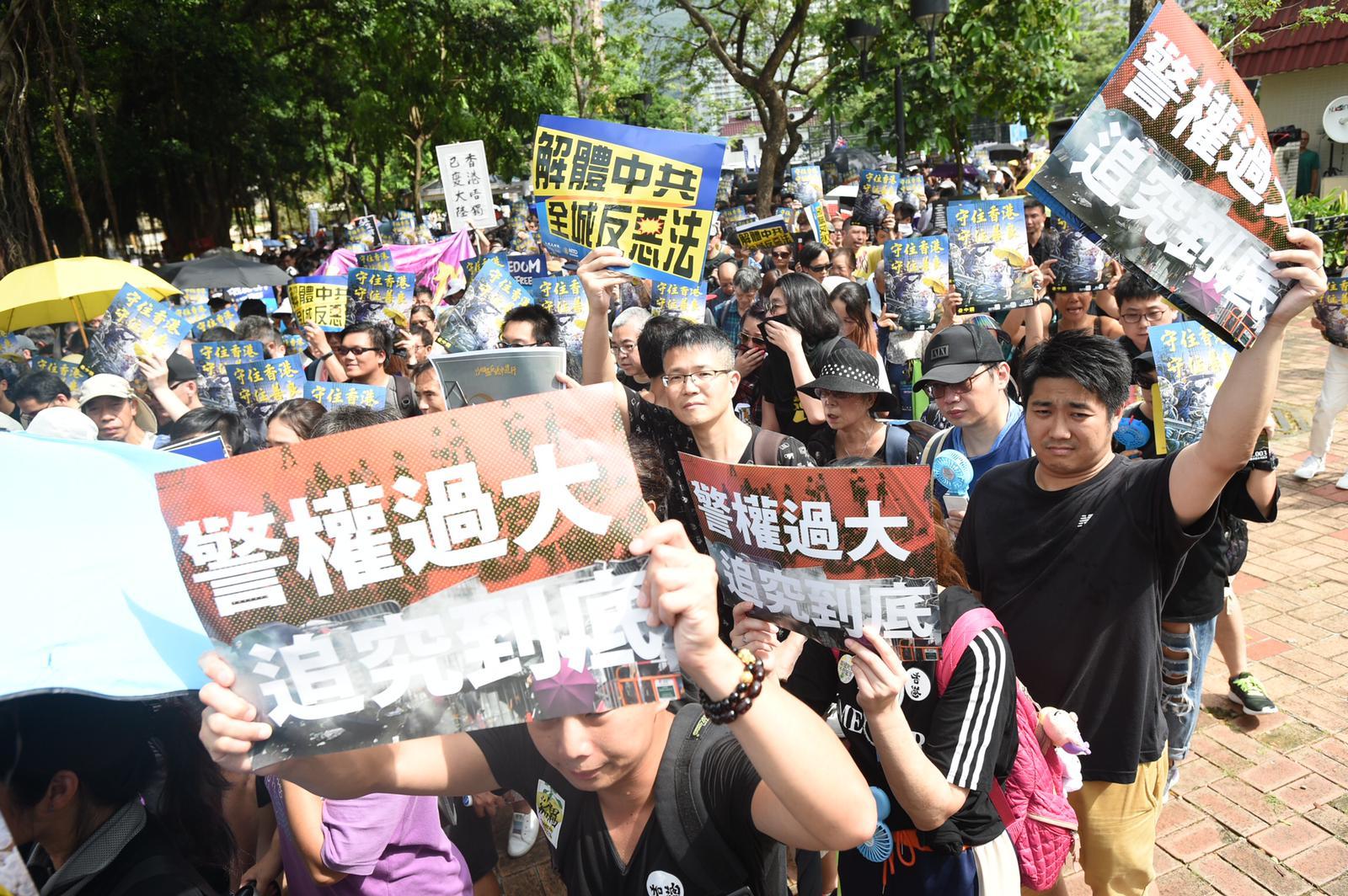 沙田區有反對修訂《逃犯條例》遊行