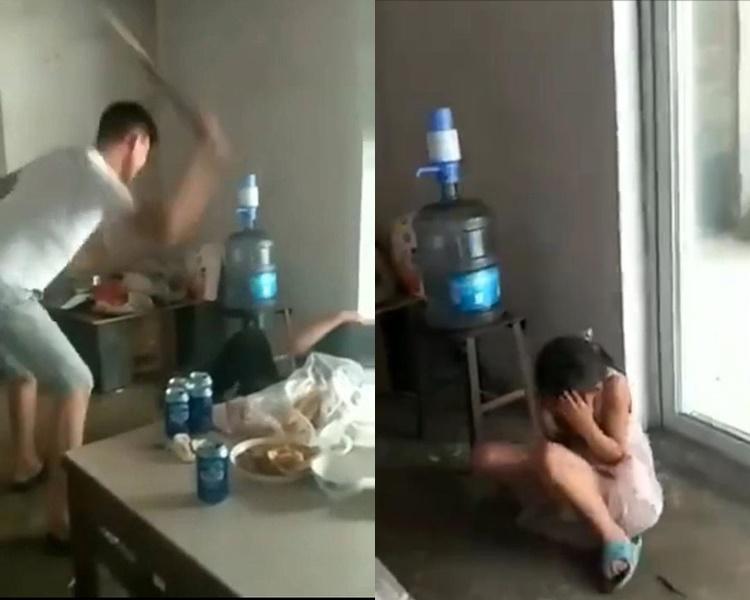 男子為了逼被其打跑的妻子回家,而毆打自己的親生孩子。網圖