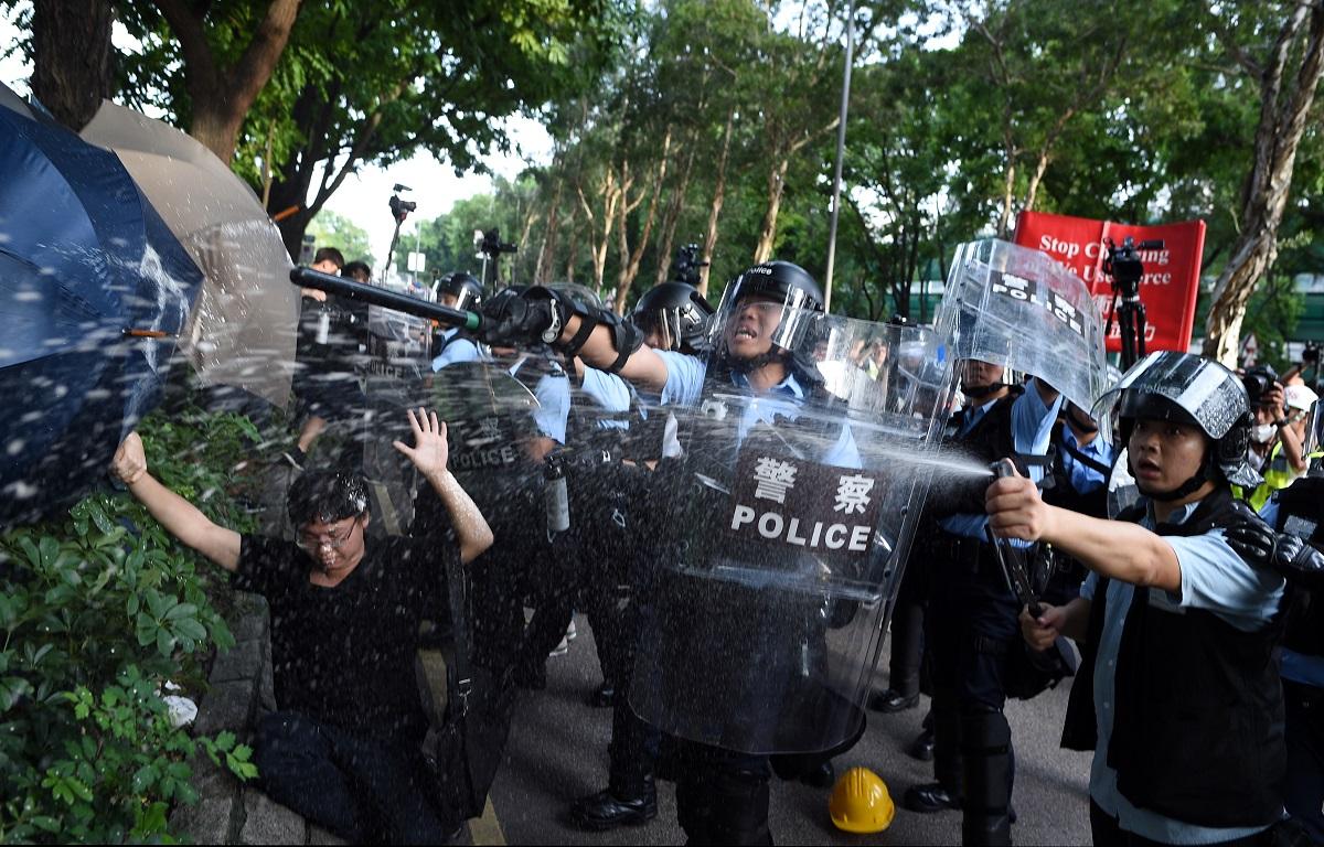 警方強烈譴責上水有暴力衝擊行為。資料圖片