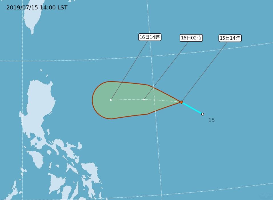 風暴丹娜絲最快今晚增強。台灣氣象局圖片