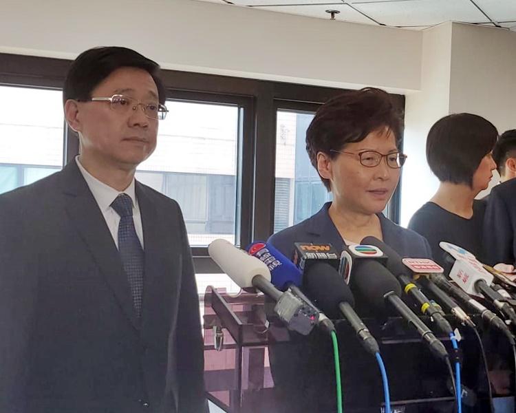 林鄭月娥強調香港必須尊重法治,且會繼續支持警隊執法。