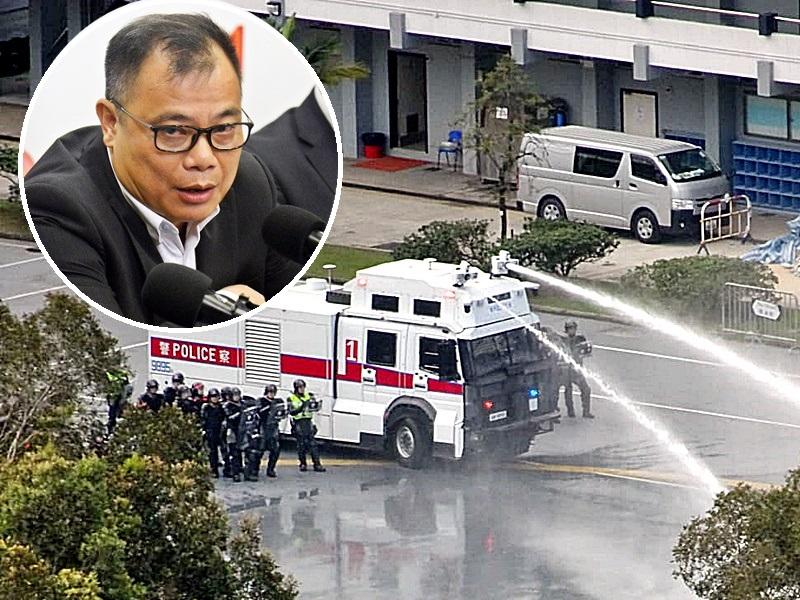 林志偉(小圖)指應盡早動用水炮車。資料圖片