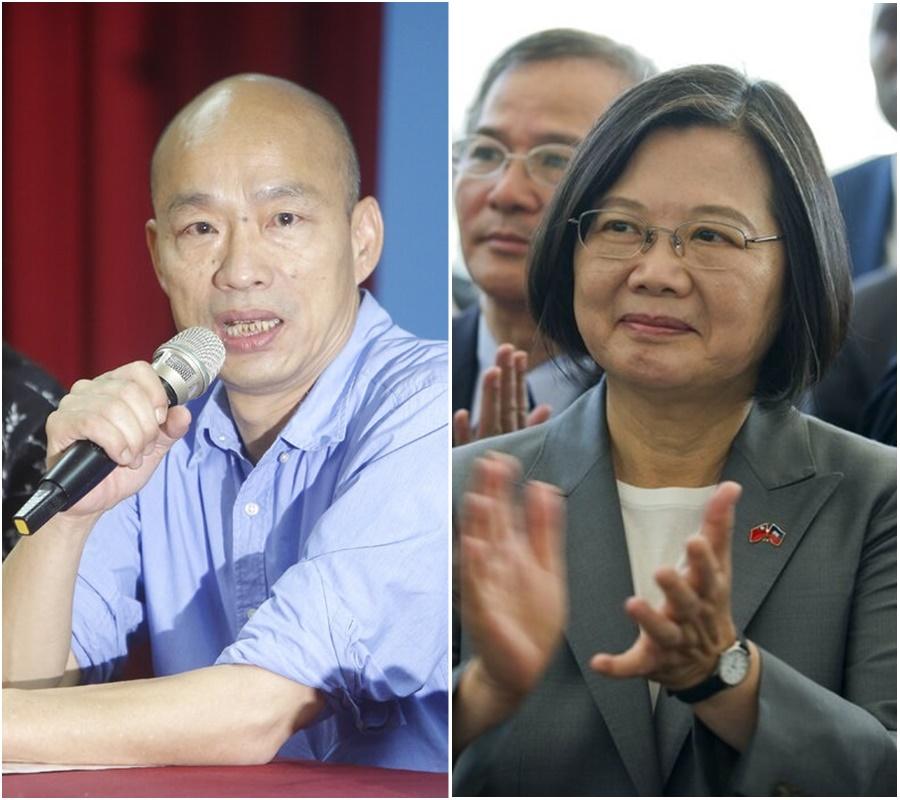 韓國瑜出戰總統選舉;蔡英文表明全力爭取勝利。AP圖片