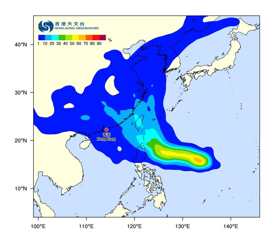 風暴吹襲香港的機會只有低於10%。天文台