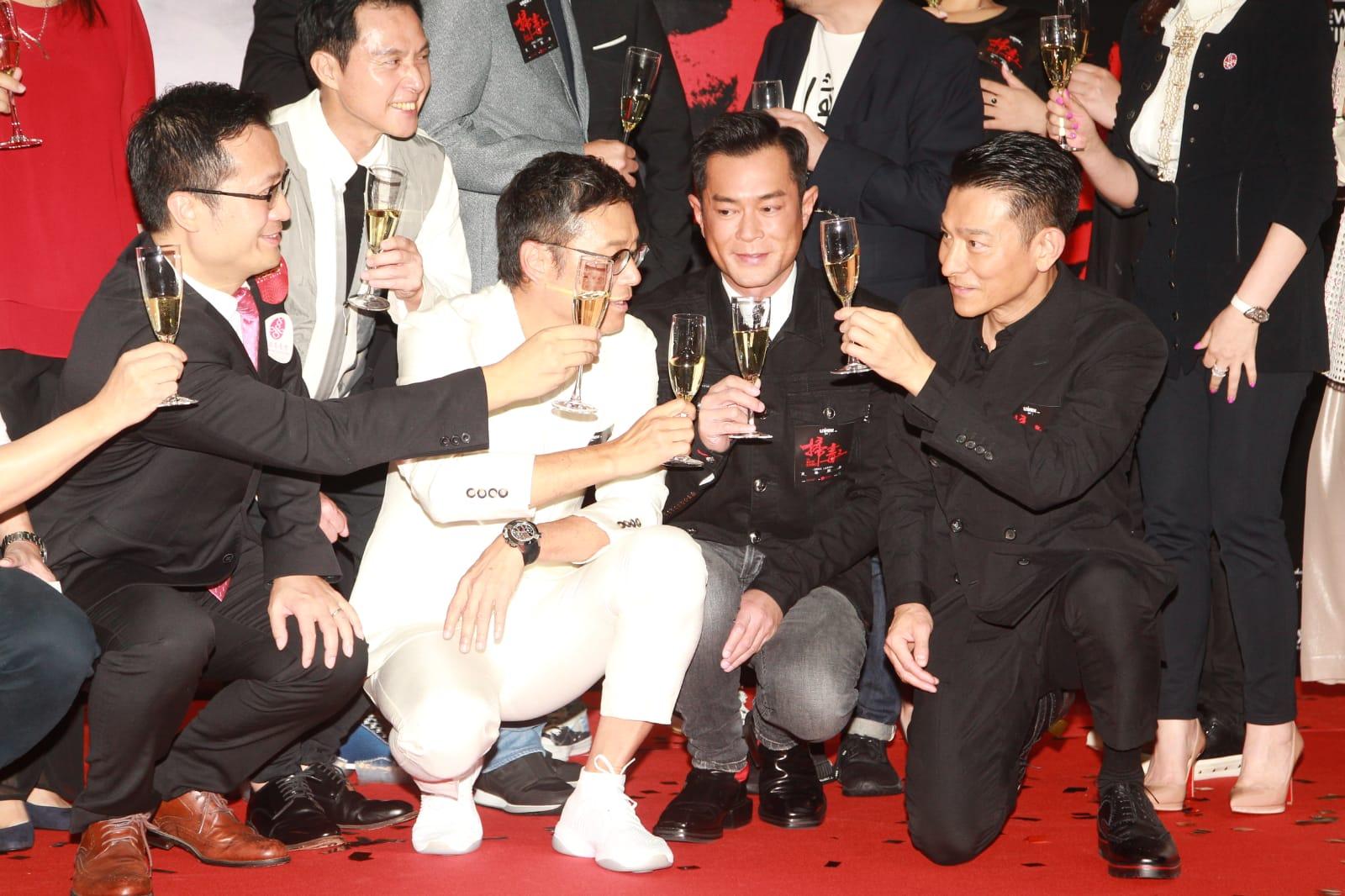 古天樂(右二)、苗僑偉(左二)、劉德華(右一)。