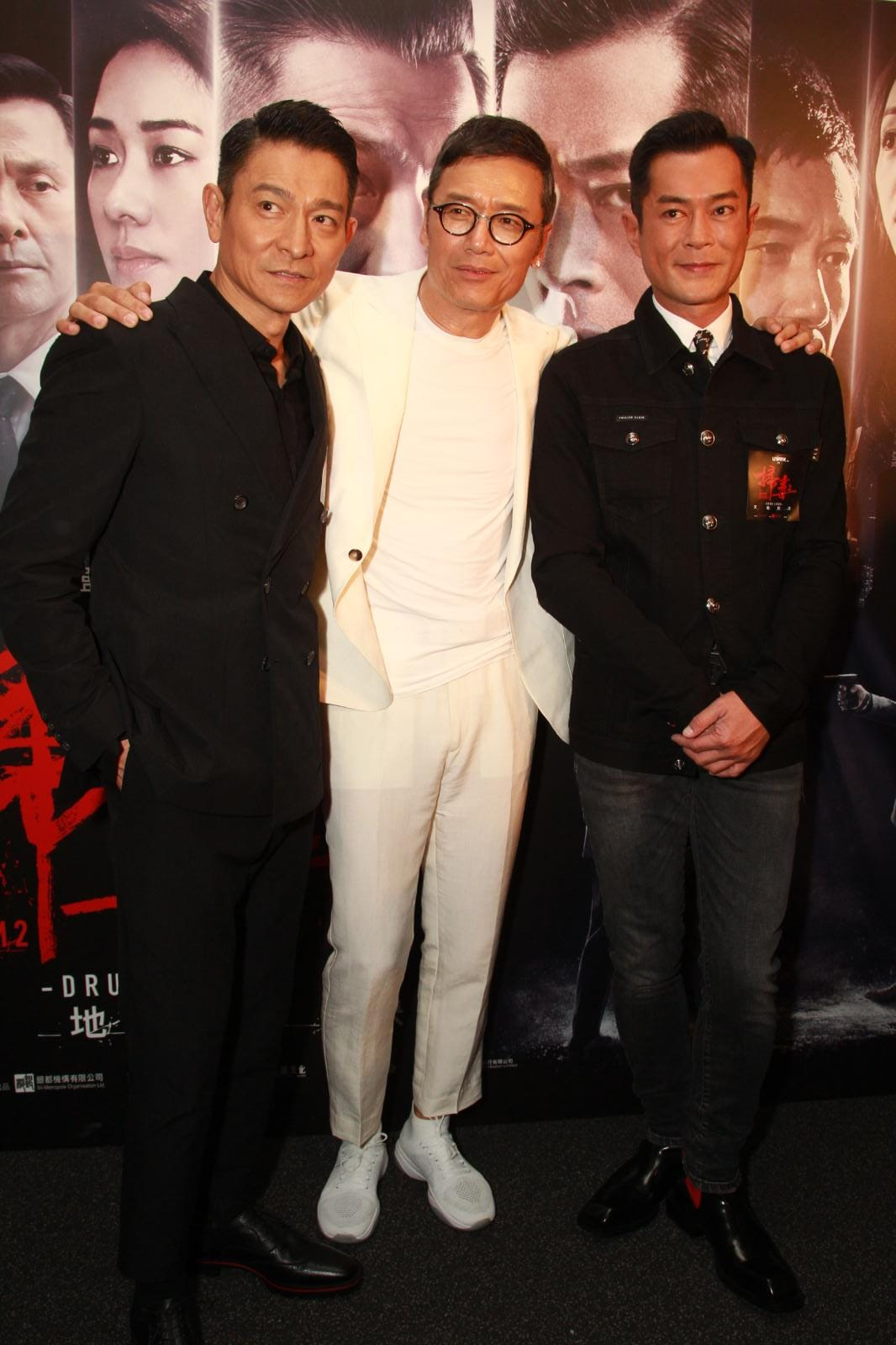 劉德華(左)、苗僑偉(中)、古天樂(右)。