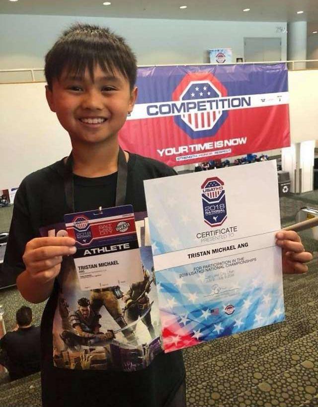 9歲男童Tristan Ang上月考獲跆拳道黑帶,曾獲得多枚獎牌。
