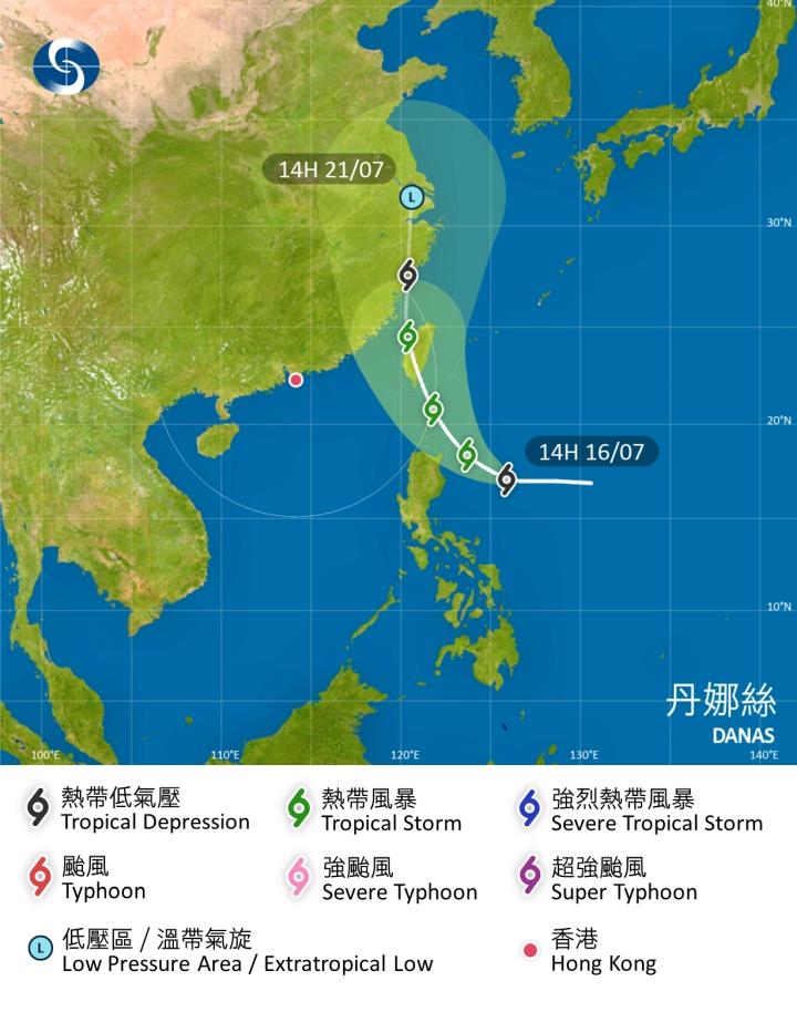 丹娜絲會移向呂宋海峽至台灣一帶。天文台預測路徑