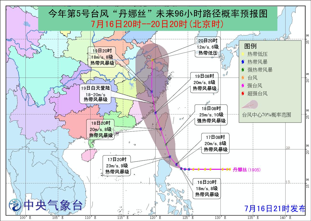 「丹娜絲」大陸中央氣象台預測路徑